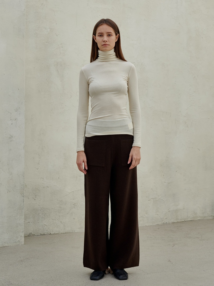 [20AW]wool cashmere slim wide pants_ choco brown