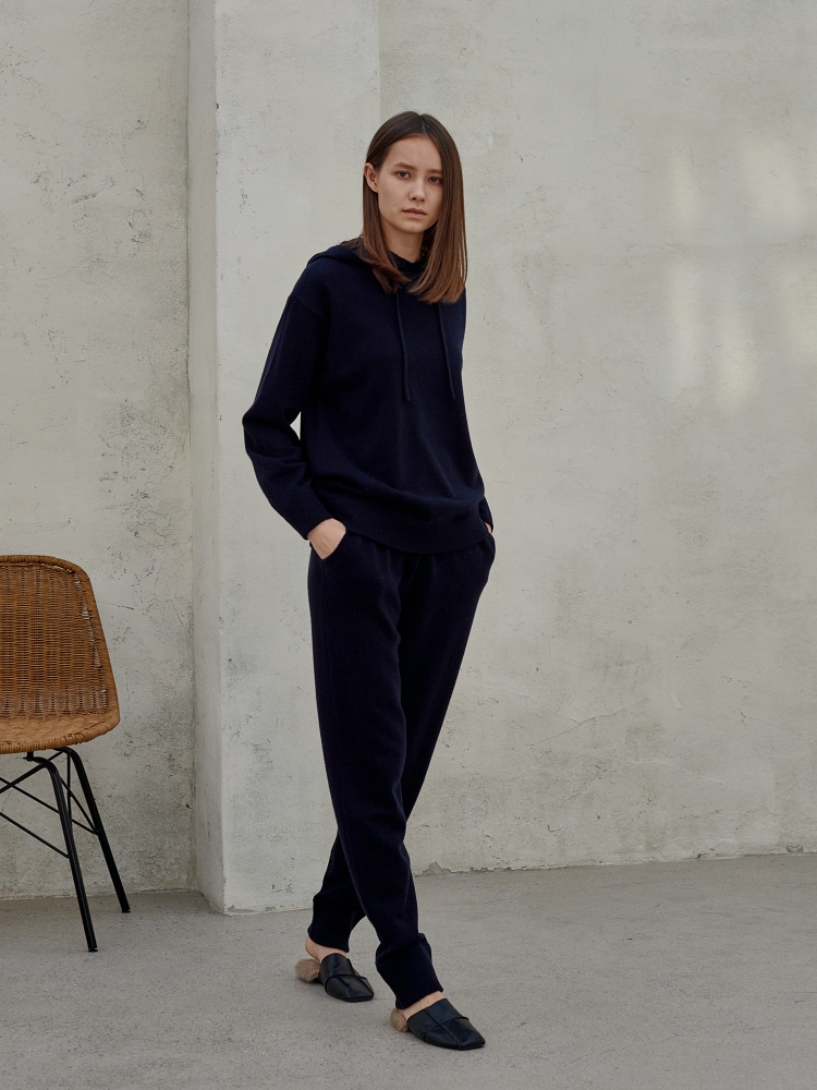 [20AW]wool cashmere Jogger Pants_ navy