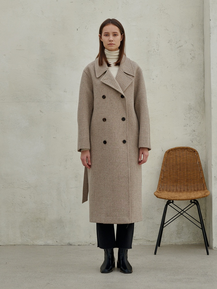[20AW]wool80 check loose fit coat_beige