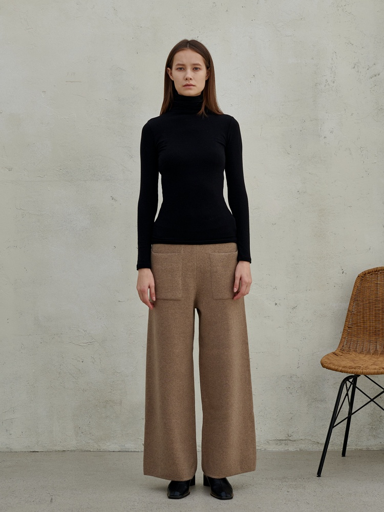 [20AW]wool cashmere slim wide pants_ m. beige