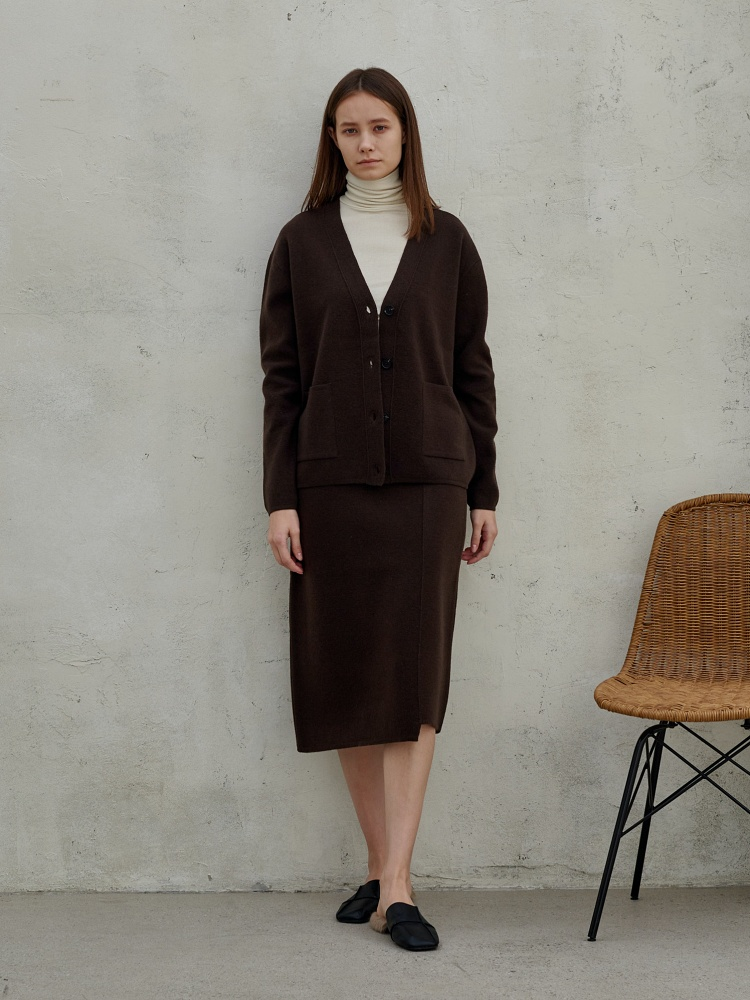 [20AW]wool cashmere h line skirts_ choco brown