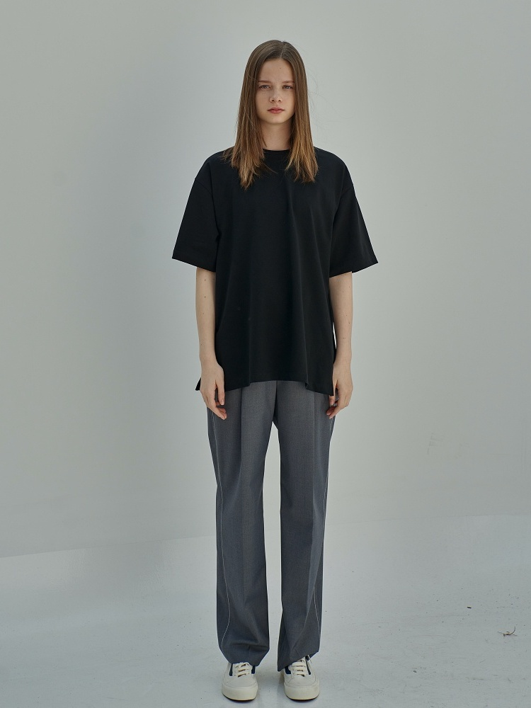 [21ss] MASON STITCH SIGNATURE  SLACKS_CHARCOAL