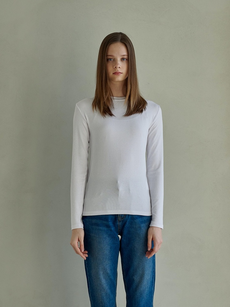[21ss] UNIQUE ROUND LONG SLEEVES_WHITE