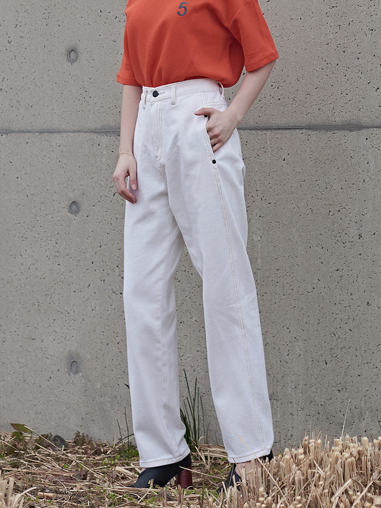 WHITE COTTON BAGGY PANTS