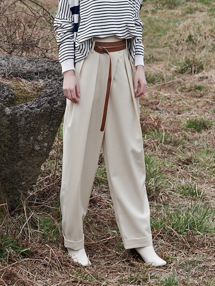 [전소니 착용]high waist TWO-TUCK BAGGY SLACKS