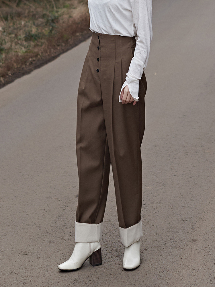 high waist BUTTON TURN-UP ARRANGE SLACKS