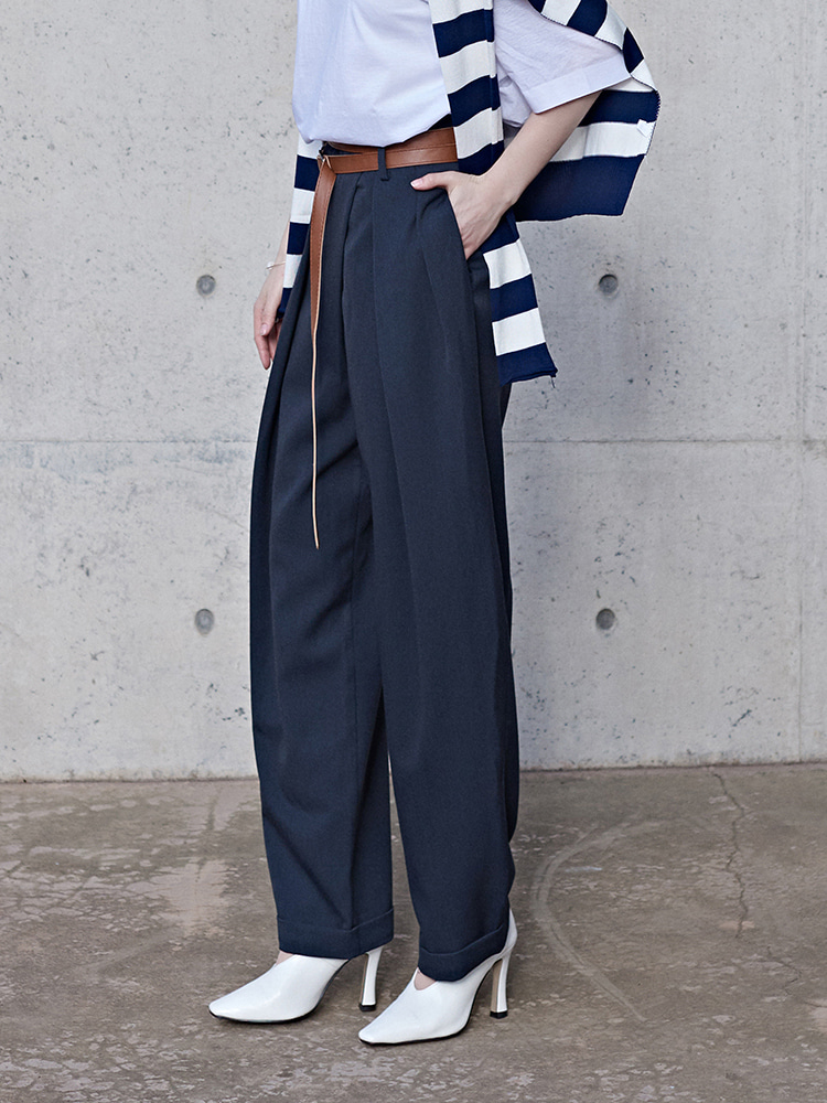[윤승아 착용]high waist TWO-TUCK BAGGY SLACKS