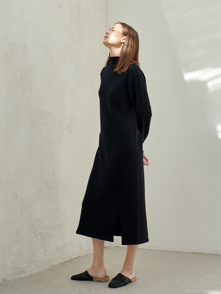 [20AW]wool cashmere turtleneck onepiece _ black