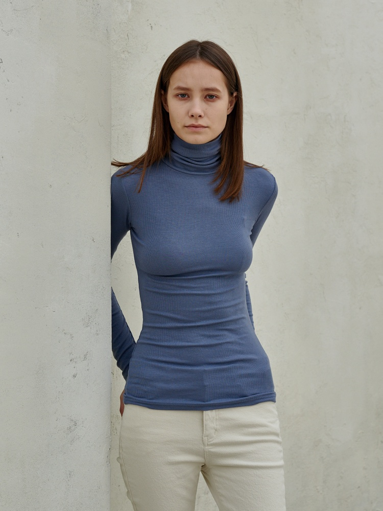 [20AW]unique turtleneck long sleeves_skyblue