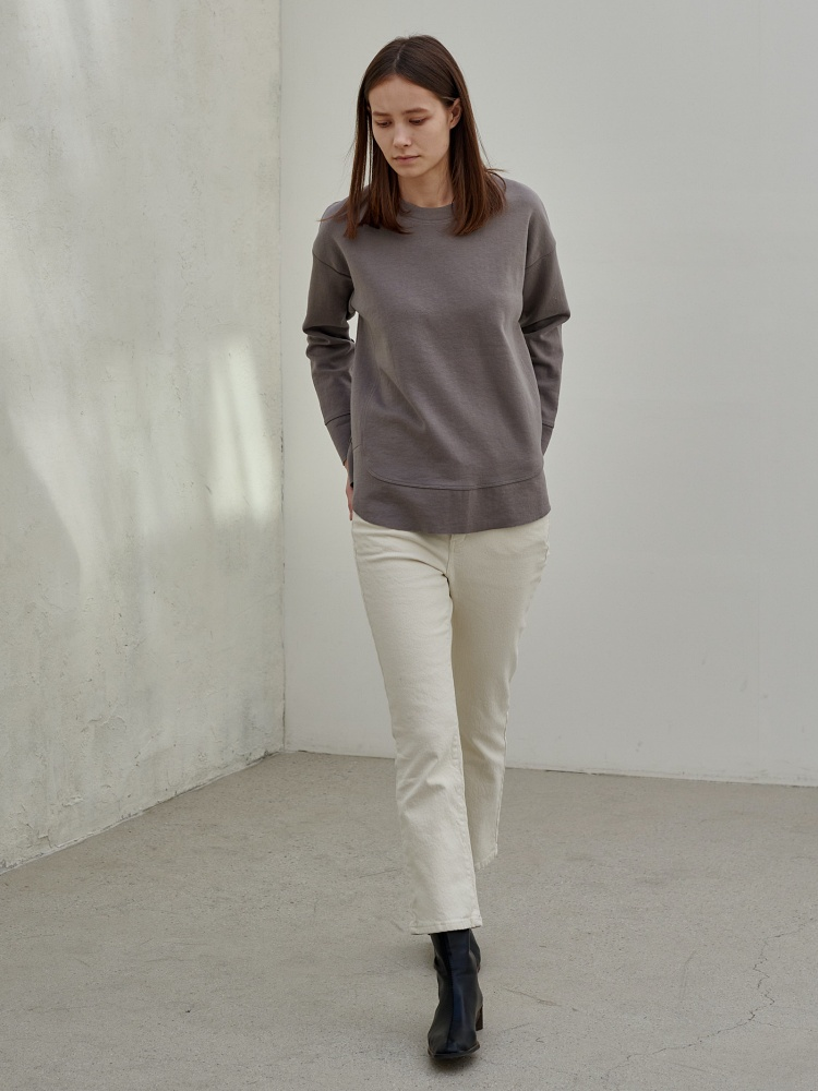[20AW]double cotton warm cutting tshirt_grey
