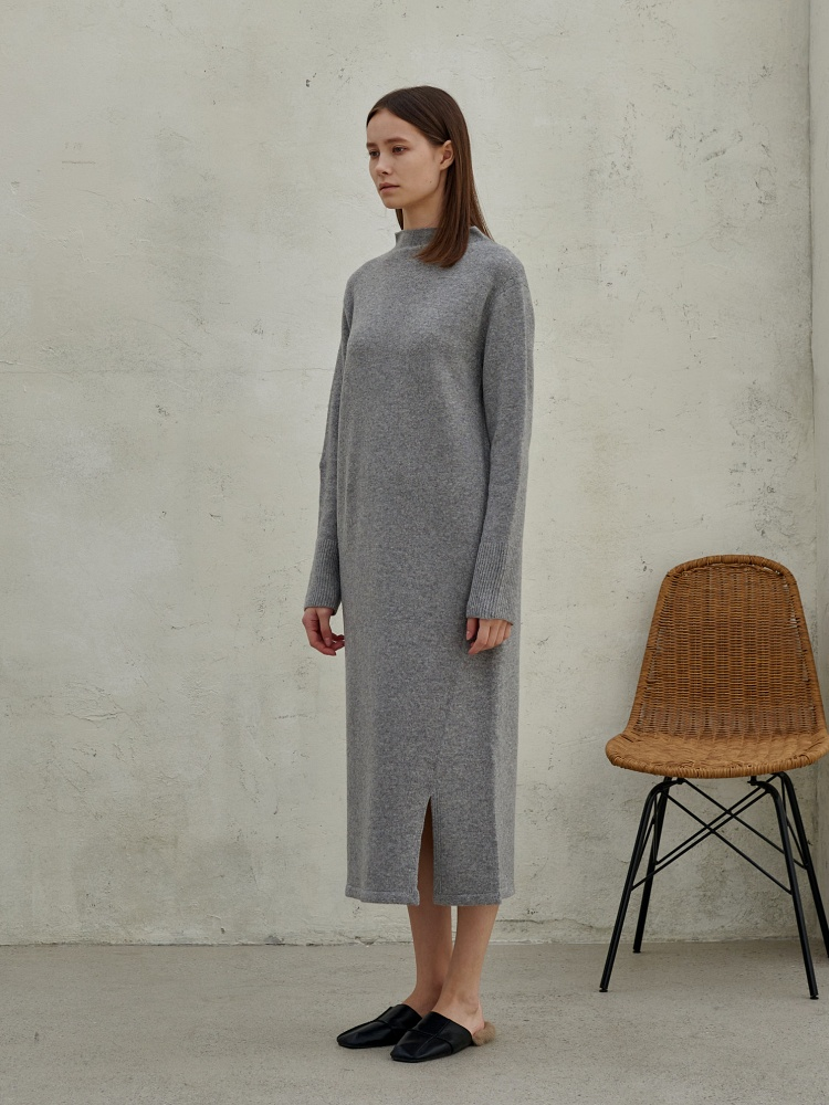 [20AW]wool cashmere turtleneck onepiece _ m. grey