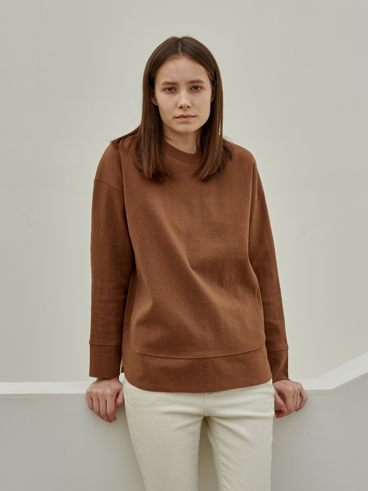 [20AW]double cotton warm cutting tshirt_camel