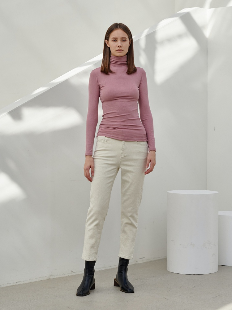 [20AW]unique turtleneck long sleeves_pink