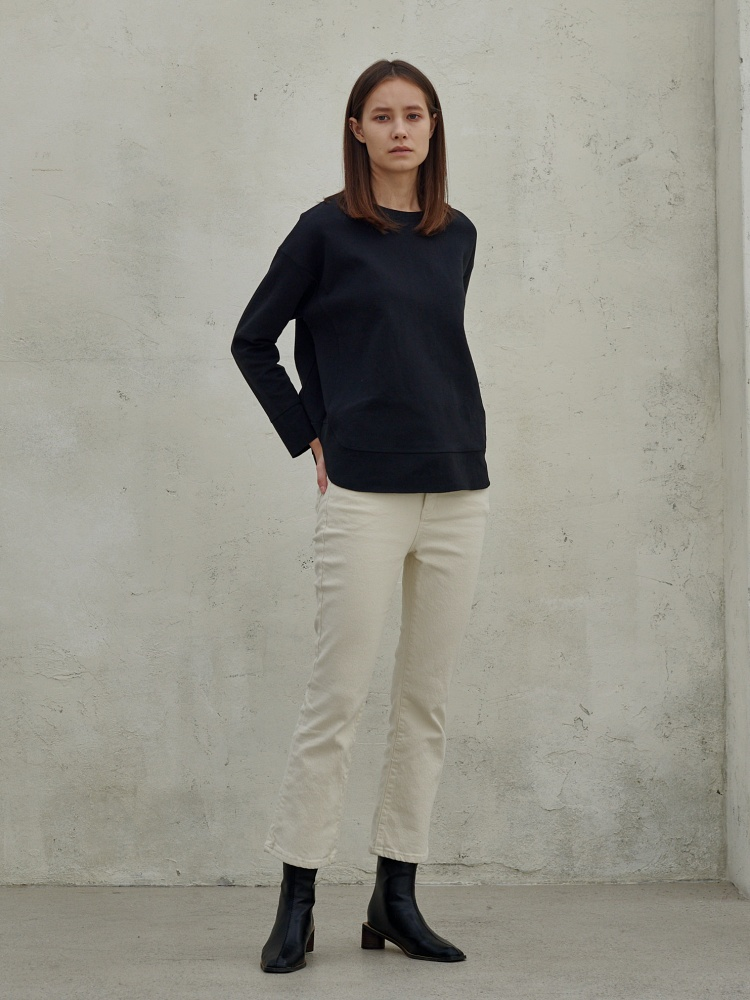 [20AW]double cotton warm cutting tshirt_black
