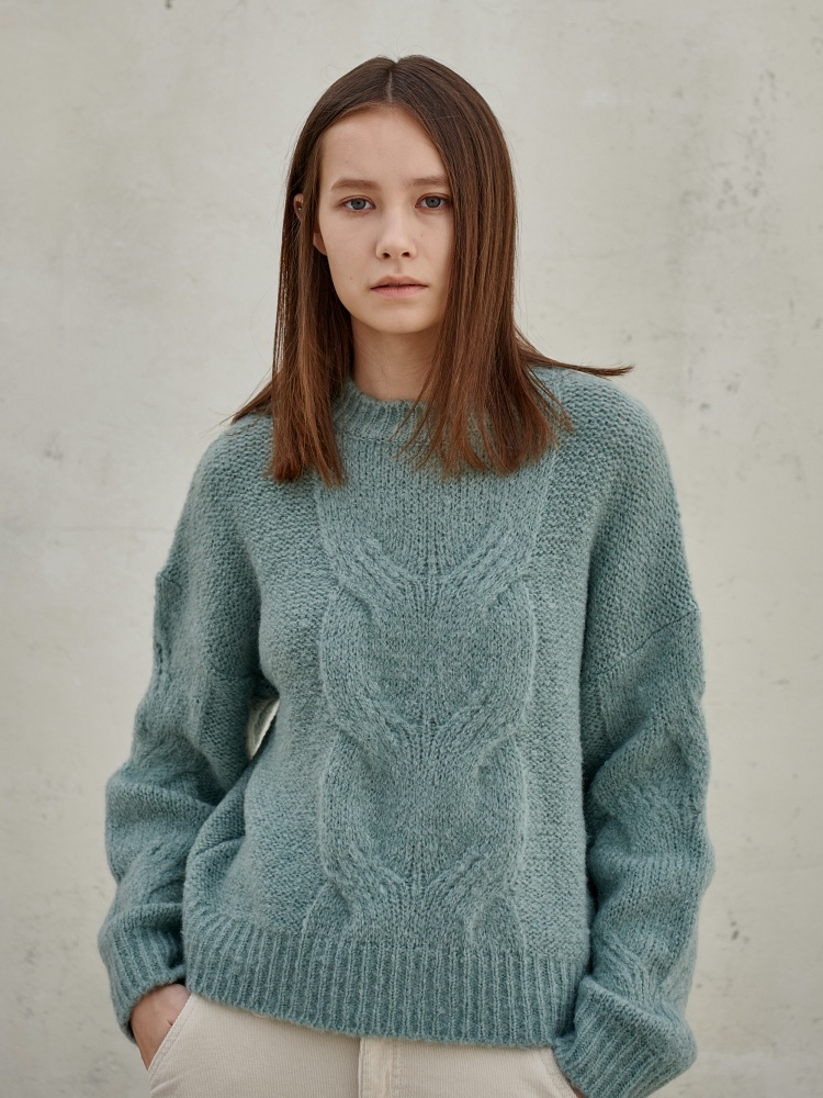 [20AW]wool alpaca cable pullover_mint