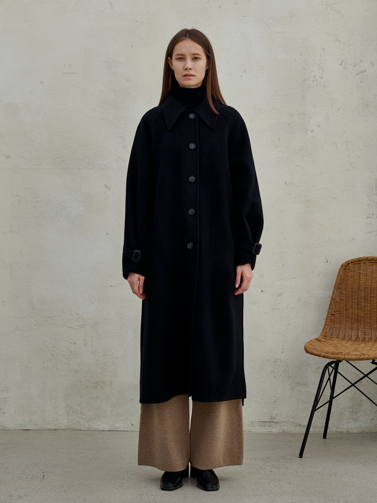 [20AW]merino wool100 handmade single coat_black