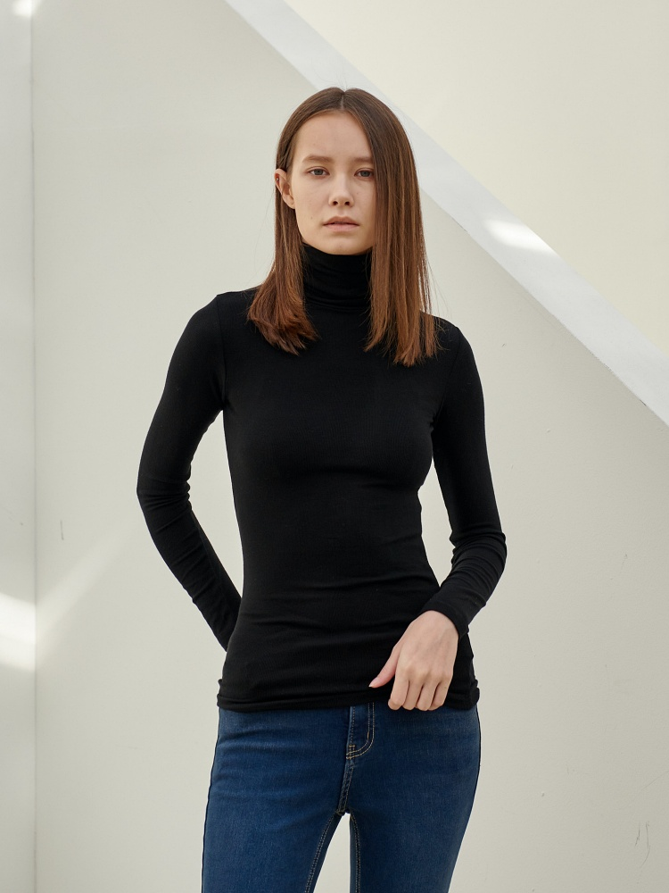 [20AW]unique turtleneck long sleeves_black