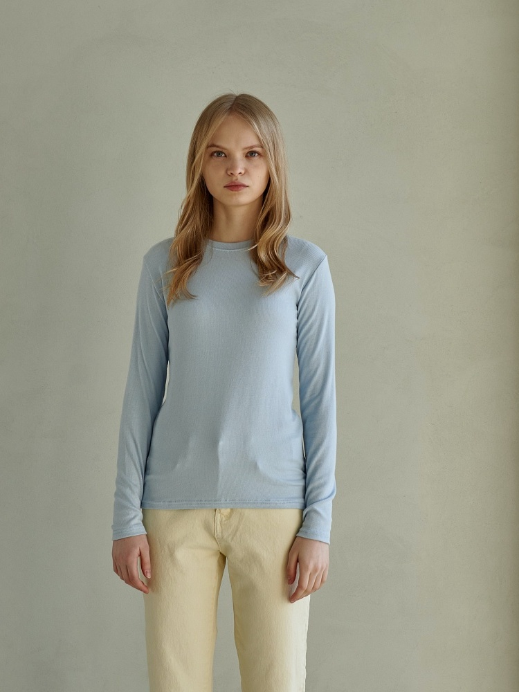 [21ss] UNIQUE ROUND LONG SLEEVES_SKY BLUE