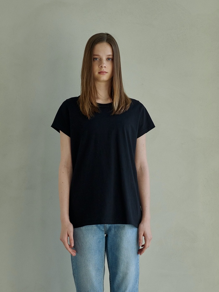 [21ss] MARIN COTTON DETAIL TSHIRTS_BLACK